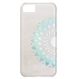 Elegant Light Blue Green Flower Motif Marble Look Case For iPhone 5C