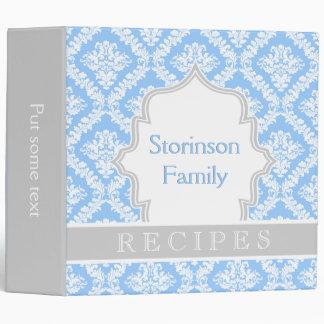 Elegant light blue, grey damask recipe binder