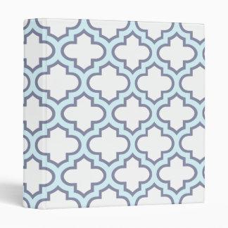 Elegant Light Blue Moroccan Quatrefoil Pattern Binder