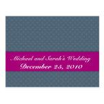 Elegant light blue octagonal pattern on rough blue postcard