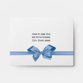 Elegant Light Blue Satin Bow on White Envelope