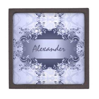 Elegant Light Blue Vintage Abstract Floral Design Premium Gift Box