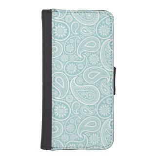 Elegant Light Blue & White Vintage Paisley Patter iPhone SE/5/5s Wallet