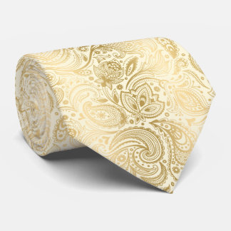 Elegant Light Gold And Ivory Paisley Pattern Neck Tie