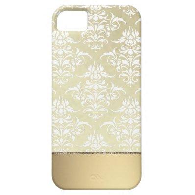 Elegant Light Gold-like Vintage Damask Pattern Cover For iPhone 5/5S