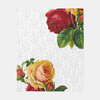 Elegant Light Gray Damask Floral Fleece Blanket