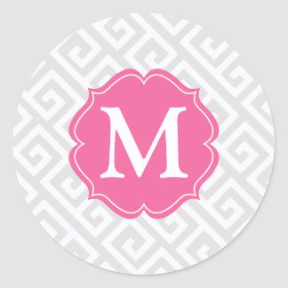 Elegant Light Gray Greek Key Personalized Classic Round Sticker