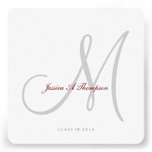 Elegant Light Gray Monogram Class of 2014 Invite