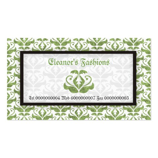 Elegant light green damask fashion business cards business card template
