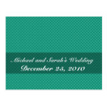 Elegant light green octagonal pattern on rough gre postcard