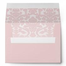 """Elegant Light Pink Damask Envelope for 5x7"""""""