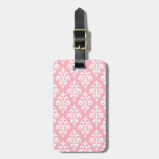 Elegant Light Pink Damask Luggage Tag