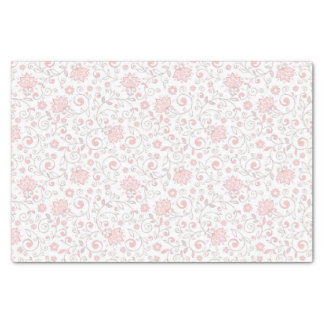 "Elegant Light Pink Floral Pattern 10"" X 15"" Tissue Paper"