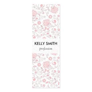 Elegant Light Pink Floral Pattern Mini Business Card