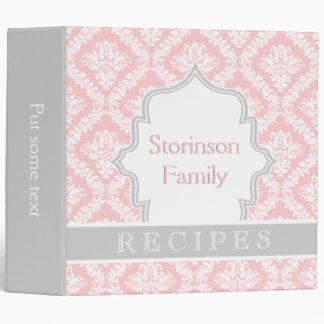 Elegant light pink, grey damask recipe binder
