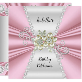 Elegant Light Pink Pearl White Diamond Birthday Card