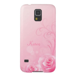 Elegant Light Pink Swirl Rose Pattern Monogrammed Galaxy S5 Case