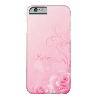 Elegant Light Pink Swirl Rose Pattern Monogrammed Barely There iPhone 6 Case