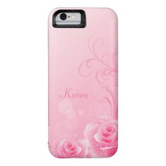 Elegant Light Pink Swirl Rose Pattern Monogrammed iPhone 6 Case
