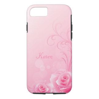 Elegant Light Pink Swirl Rose Pattern Monogrammed iPhone 7 Case