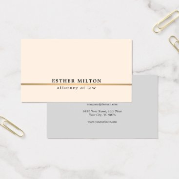 Lawyer Themed Elegant Light Rose Grey Faux Gold Line Consultant Business Card