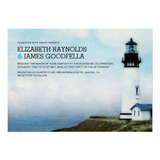 Elegant Lighthouse Wedding Invitations