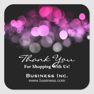 Elegant Lights Business Thank You Pink Square Sticker