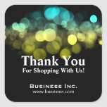 Elegant Lights Business Thank You Yellow Blue Square Sticker