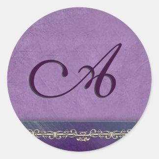 Elegant lilac and purple monogram envelope seals classic round sticker