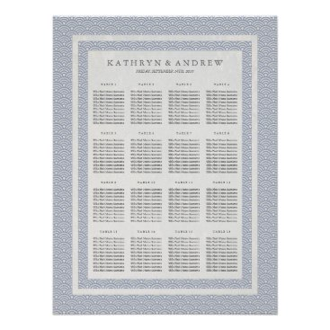Beach Themed Elegant Lilac Blue Seigaiha Wedding Seating Chart