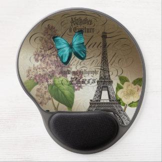 Elegant lilac butterfly Eiffel Tower vintage paris Gel Mouse Pad