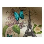 Elegant lilac butterfly Eiffel Tower vintage paris Post Card