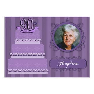 Elegant Lilac Damask 90th Birthday Photo Invite
