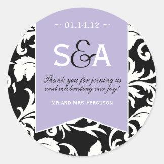 Elegant Lilac Damask Favor Stickers