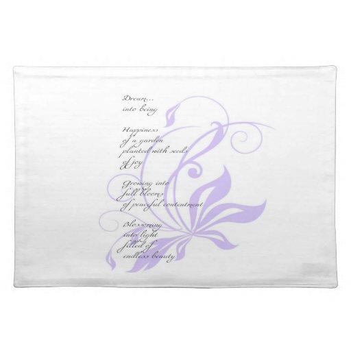 Elegant Lilac Dream Poem Cloth Placemat