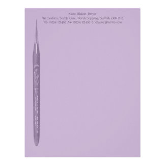 Elegant Lilac Pen Nib Stationery Letterhead