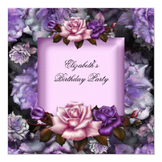 Elegant Lilac Pink Purple Flowers Birthday Party Card