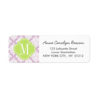 Elegant Lilac Purple Damask Personalized Label