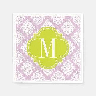 Elegant Lilac Purple Damask Personalized Paper Napkin