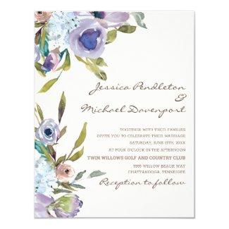 Elegant Lilac Purple Dusty Blue Floral Wedding Invitation