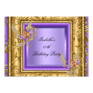 Elegant Lilac Purple Gold Amber Birthday Party 2a Card