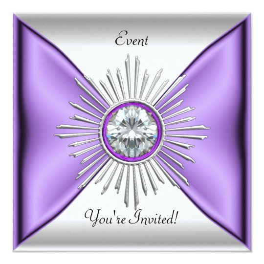 Elegant Lilac Purple Mauve White Event Party Card
