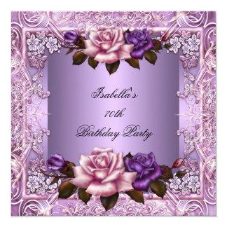Elegant Lilac Purple Pink Rose 70th Birthday Party Card