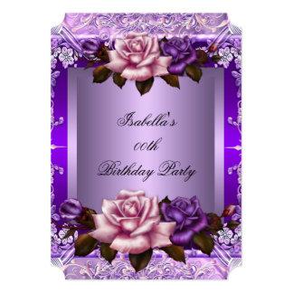 Elegant Lilac Purple Pink Rose Birthday Party 2 Card