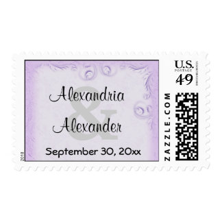 Elegant Lilac Scrollwork Save The Date Postage