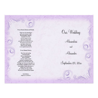 Elegant Lilac Scrollwork Wedding Program