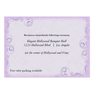 Elegant Lilac Scrollwork Wedding Reception Card Large Business Cards (Pack Of 100)