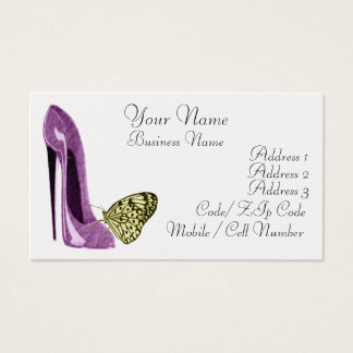 Elegant Lilac Stiletto Shoe and Yellow Butterfly B Business Card