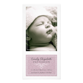 Elegant Lilac & White Baby Girl Birth Announcement Photo Greeting Card