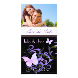 """Elegant (Liliac) Butterfly  /photo """"Save the Date"""" Customized Photo Card"""